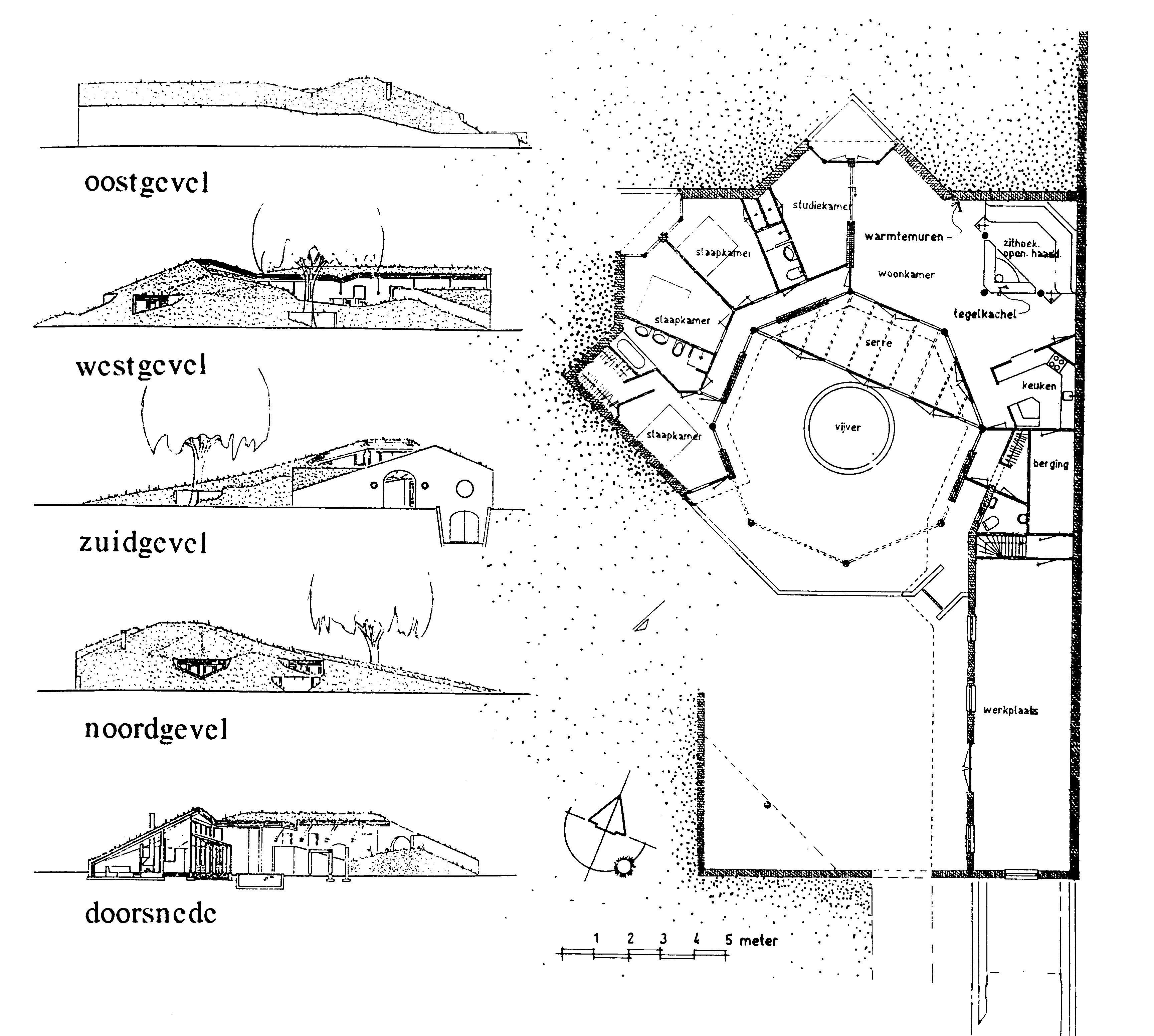Aardebedekt woonhuis Arcen 1990