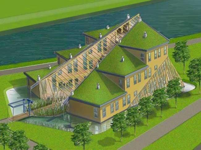 Ontwerp Autark kantoor Rijkswaterstaat Terneuzen volledige houtbouw.