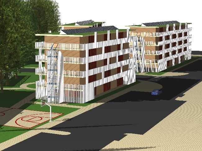 Ontwerp 750  studentenwoningen Amsterdam in IFD houtbouwsysteem