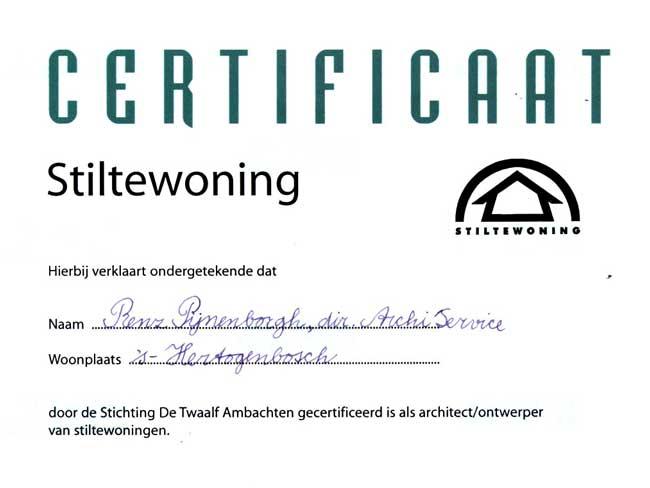 certificaat stiltewoning 2003